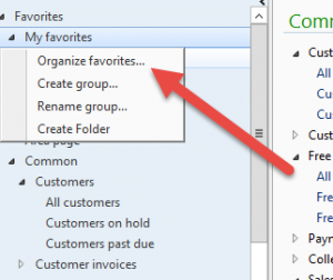 Clicking the Organize favorites button