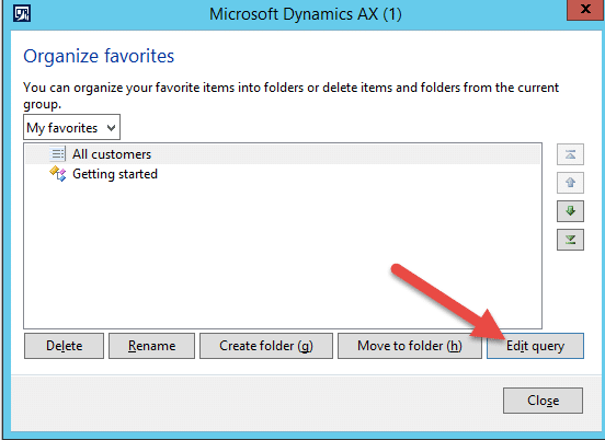 Making a saved query a favorite in Dynamics AX – Dynamic