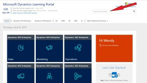 Dynamics Learning Portal site content bar