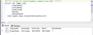 SysCustomFieldPicklist showing the custom field in SQL