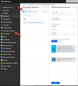 Creating an Azure automation account
