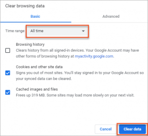 Chrome - Clear All Browsing Data