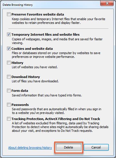 Internet Explorer - Delete Browsing History
