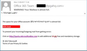 Office 365 spear phishing example