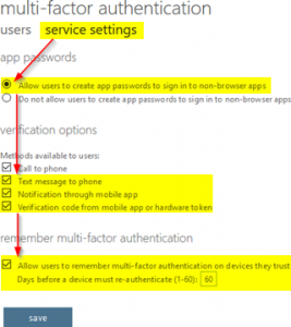 Multi-factor authentication settings
