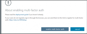 Enable multi-factor authentication dialog