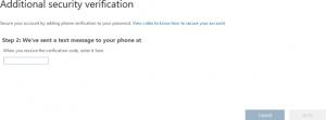 Entering the verification code to finalize MFA setup