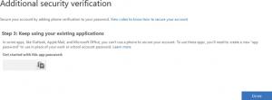 Original app password created when setting up MFA