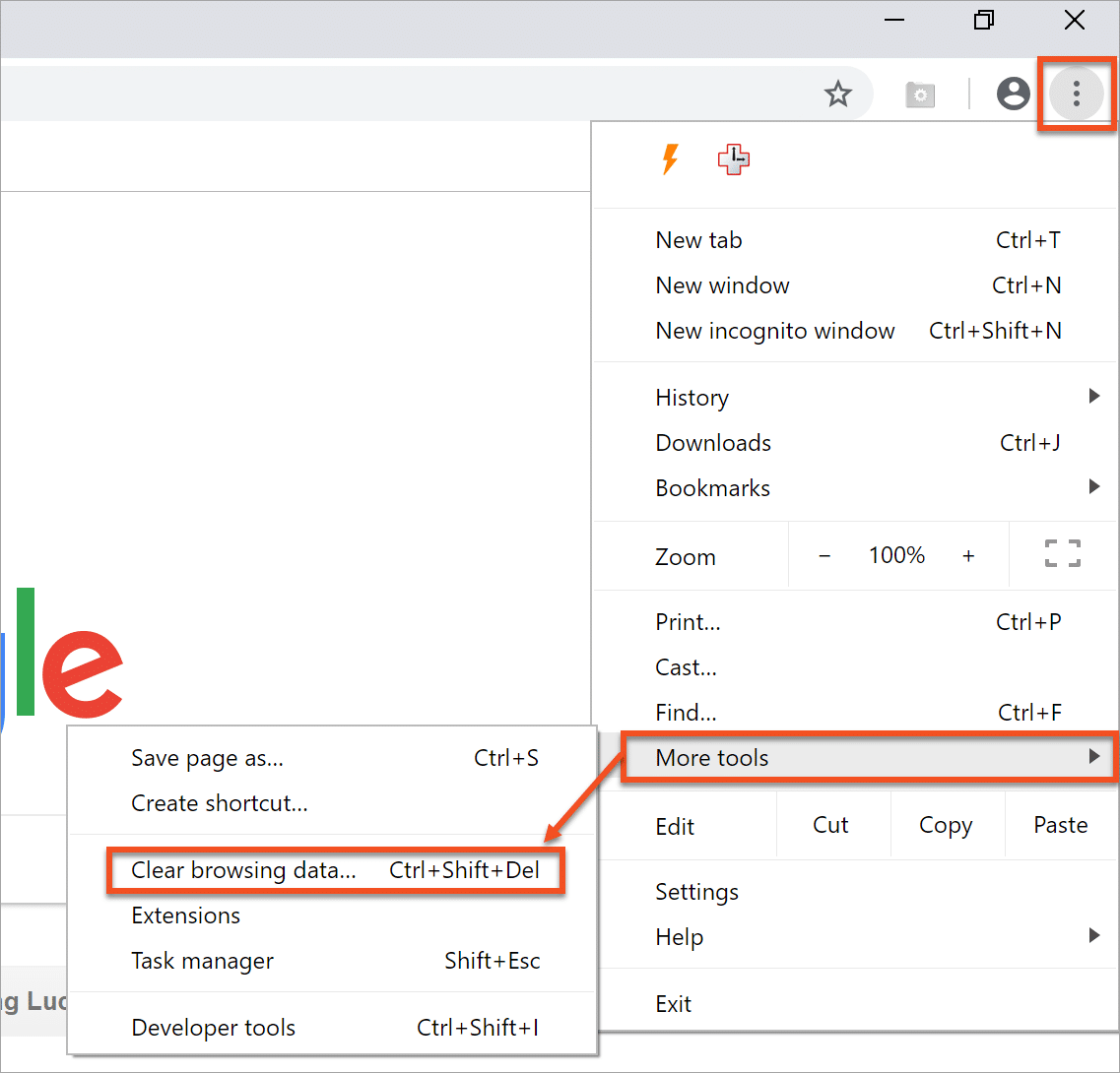 Chrome - More Tools - Clear Browsing Data