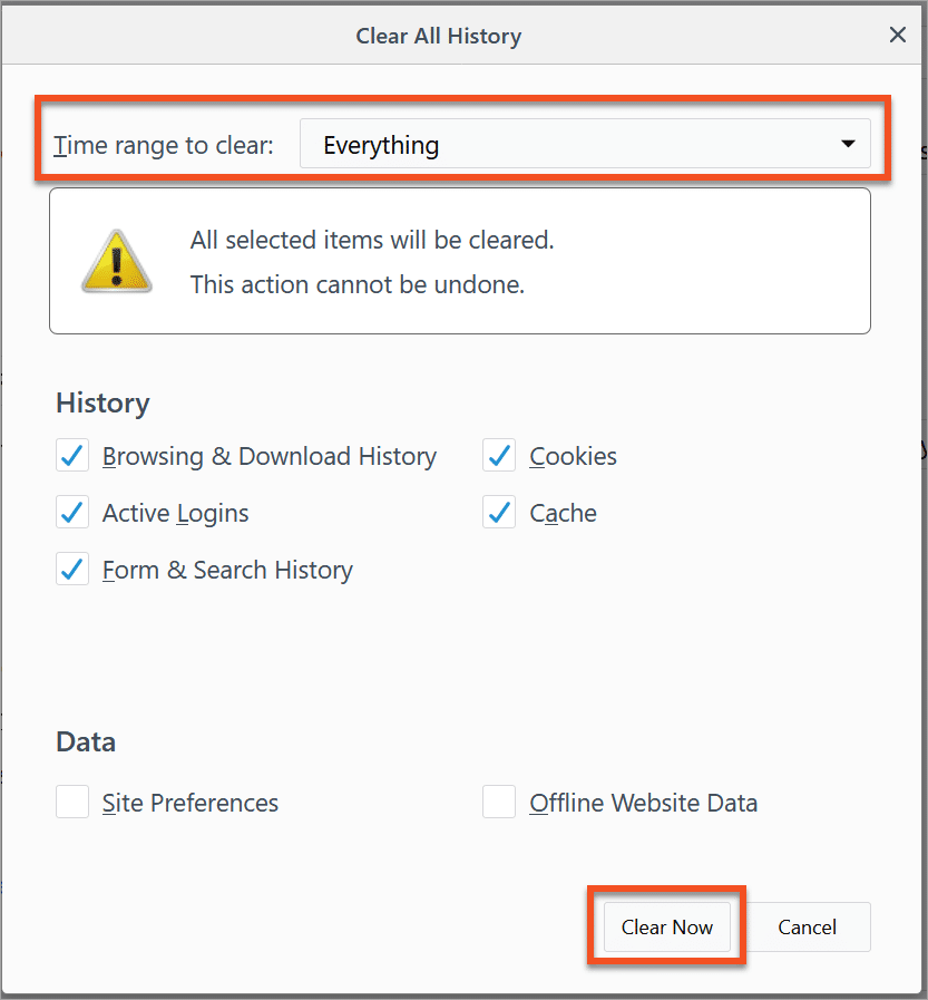 Firefox - Clear All History