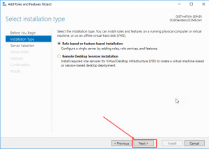 windows server selecting a role based installation