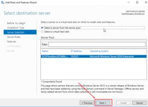 windows server select a destination server