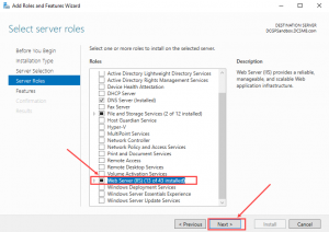 windows server select server roles
