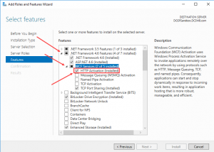 selecting features in windows server