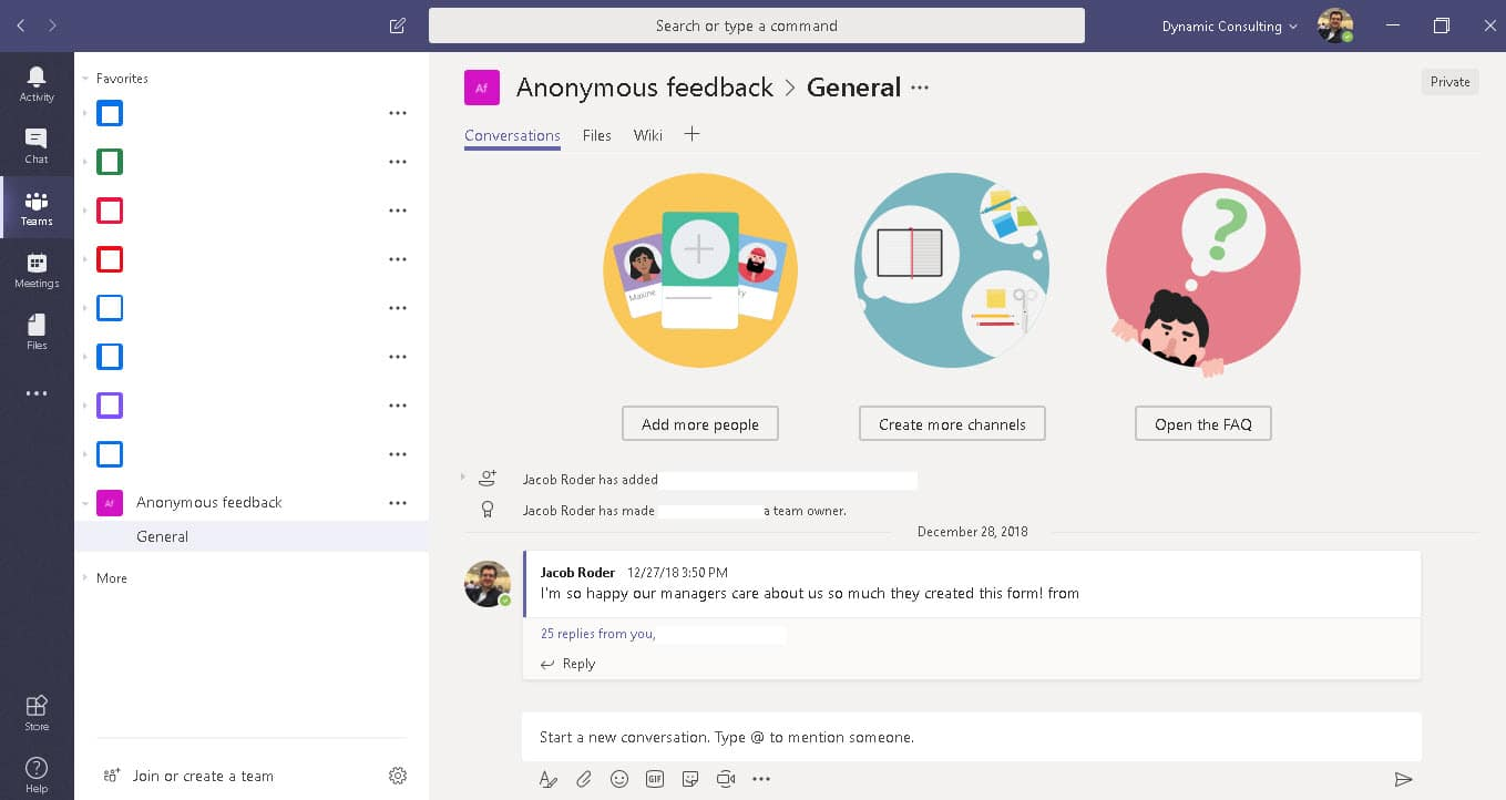 Microsoft Teams Anonymous feedback channel