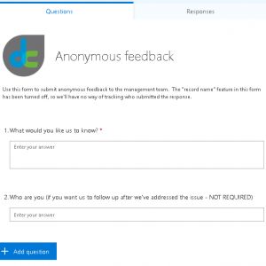 Anonymous feedback form using Microsoft Forms