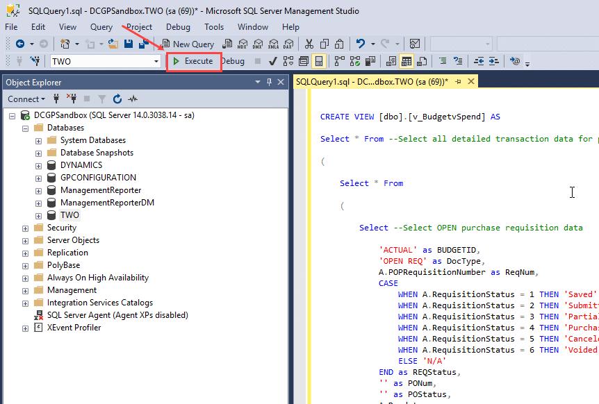 SQL Query Execute