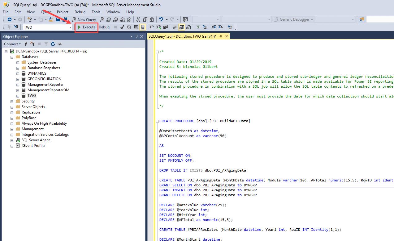SQL Execute