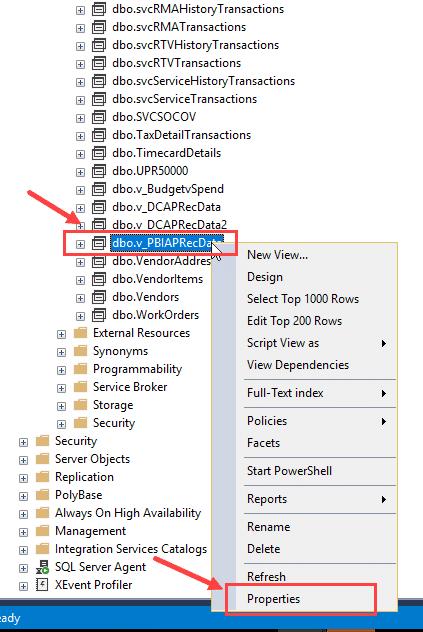 Data table properties