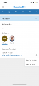 Dynamics 365 Mobile app view