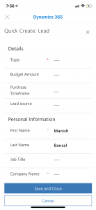 Lead form for mobile D365 app