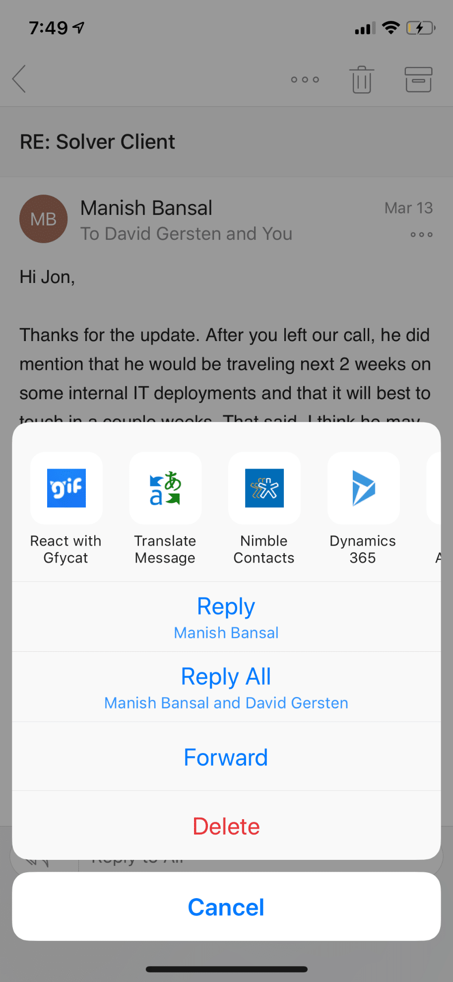 Outlook and Dynamics 365 mobile apps for iOS – Dynamic