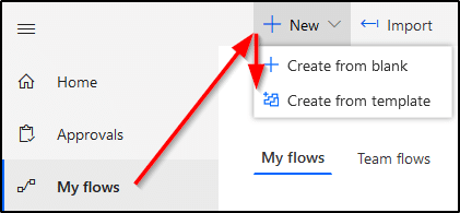 Microsoft Flow - Create new from template