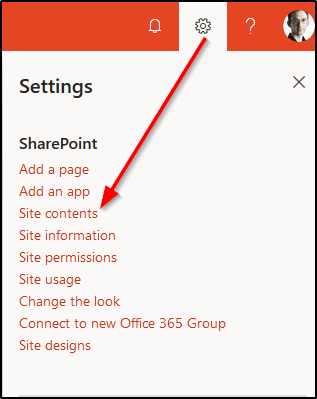 SharePoint - Site Contents