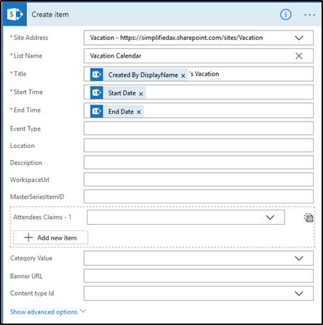 Microsoft Flow - Create Item