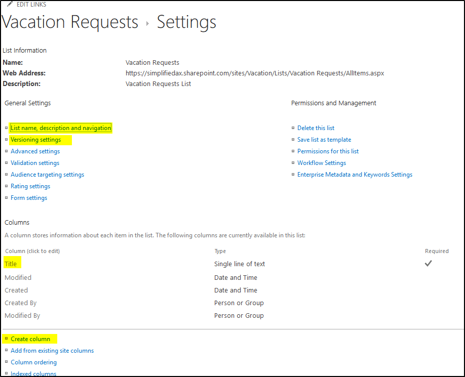 Vacation Request List - Settings