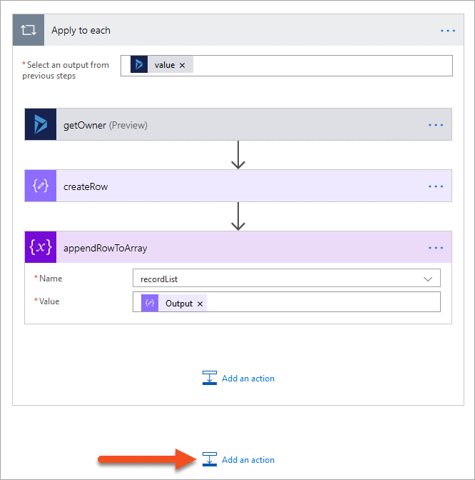 Add an action outside of the apply to each loop