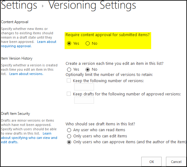 Vacation Request List - Versioning Settings