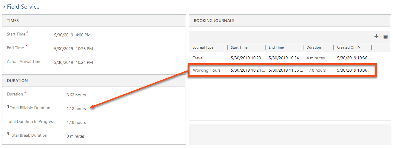 Dynamics 365 Field Service Booking Journals Billable Duration