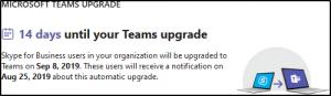 Teams Upgrade Warning
