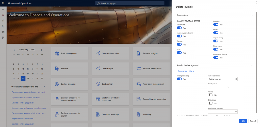 Dynamics 365 inventory journals clean-up