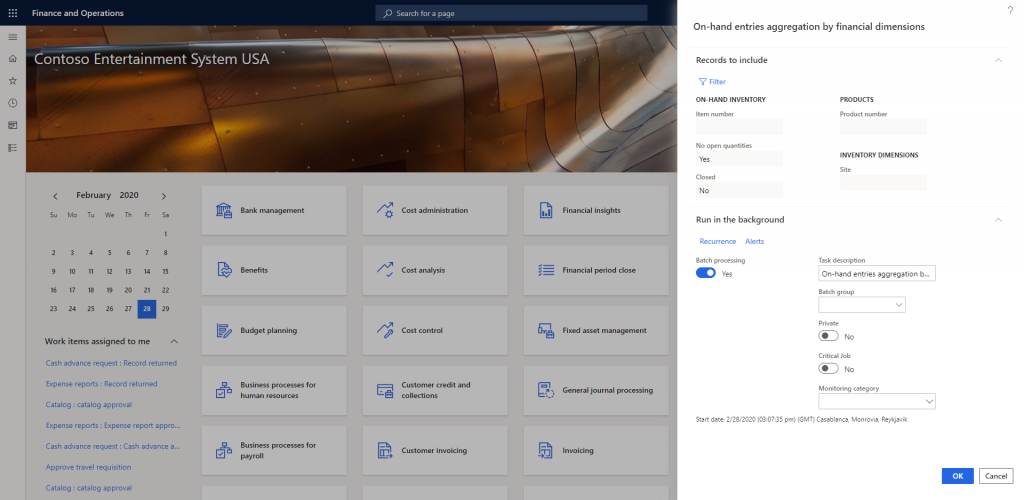 On-hand entries aggregation by financial dimensions Dynamics 365