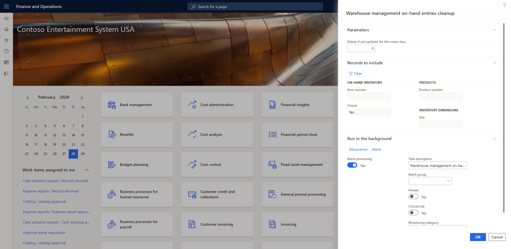 Warehouse management on-hand entries cleanup in Dynamics 365
