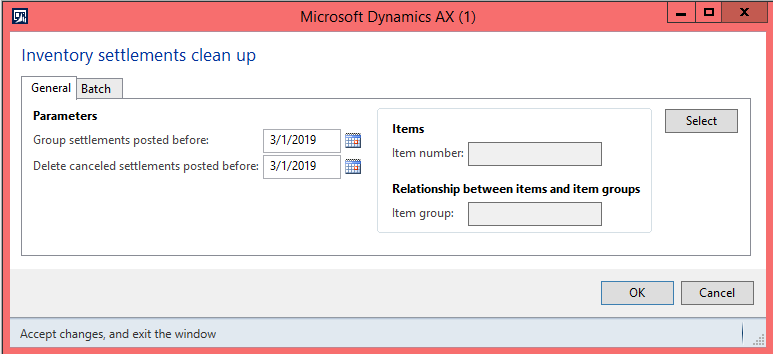 Inventory settlements clean-up dialog in Dynamics AX 2012