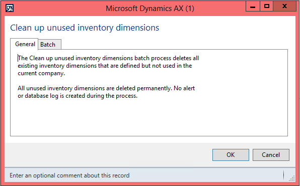 Clean up inventory dimensions in AX 2012