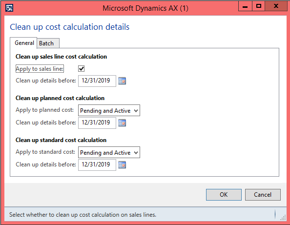 Clean up cost calculation form Dynamics AX 2012