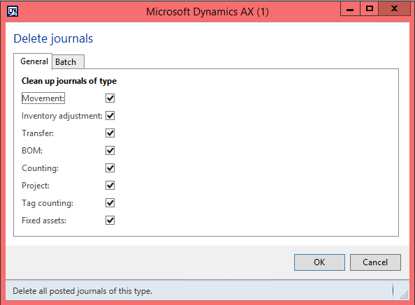 Dynamics AX 2012 inventory journals clean-up
