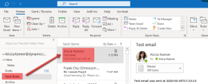 If you set the Email provider field to Exchange, the sent email will appear in your Outlook Sent Items email folder.