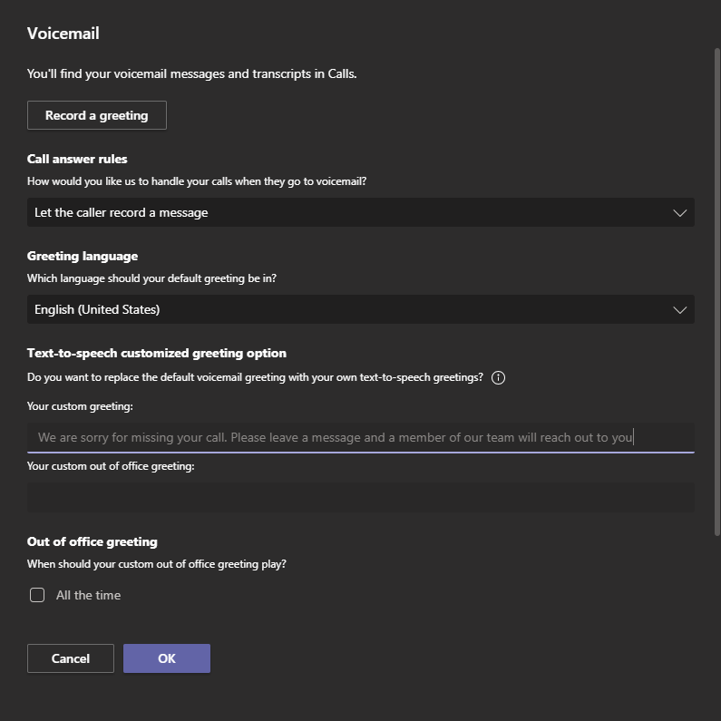 Teams voicemail settings