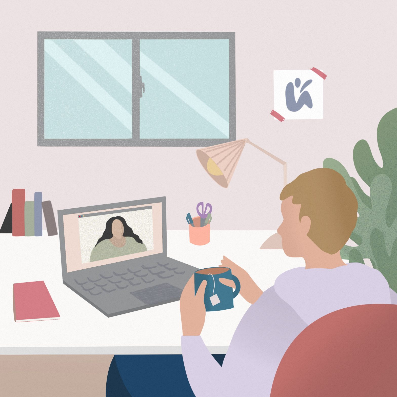 video conference, work at home, social distance, remote location, meeting, friend, home, laptop, women at desk, technology concept.