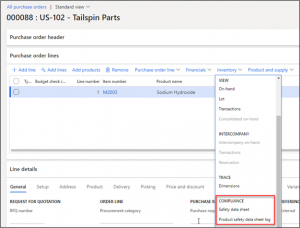 Figure 8 - Accessing the safety data sheet and log on the purchase order