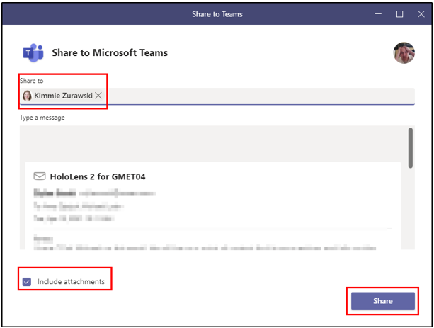 Share Email to Teams