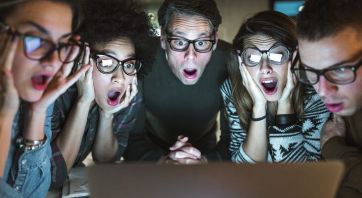 Group Astonished by What they See on Screen