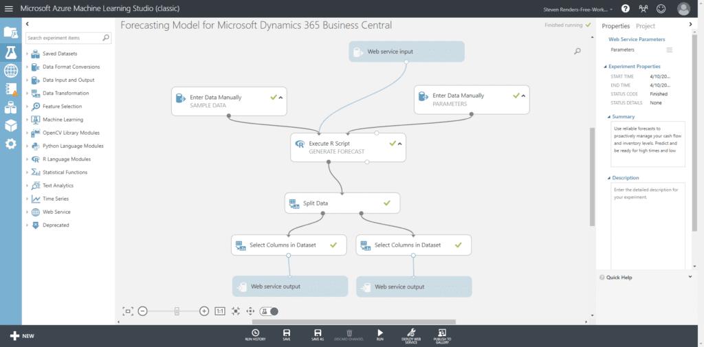 forecasting model azure machine learning studio